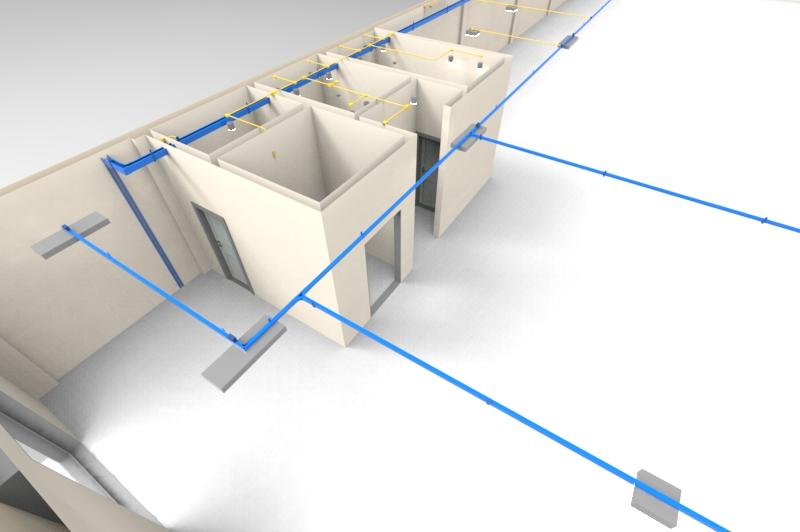 Detalhe de instalações e traçados de perfilados e eletrocalhas