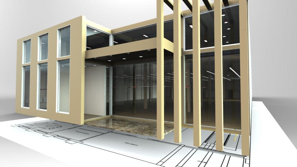 Fachada do Mercado com instalações elétricas internas - Gerada a partir da plataforma BIM